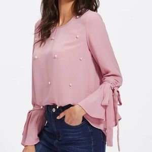 SHEIN Tops - SHEIN Faux Pearl Beaded Blouse